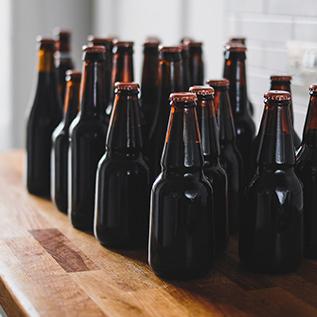 bear bottles grouped in sunlight