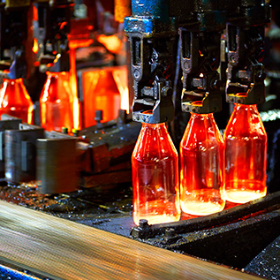bottles being produced in factory